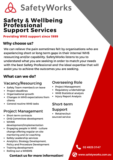 Safety & wellbeing professional support services